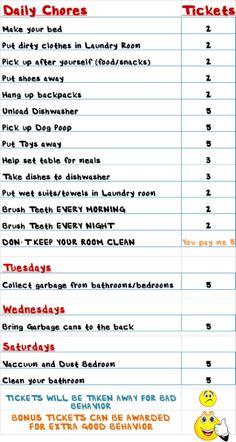 Encourage Chores for kids, good behavior, helping, ticket system Reward System For Kids, Reward Chart Kids, Chore Chart Kids, Rewards Chart, Kids Chore List, Weekly Chore Charts, Chore Rewards, Behavior Rewards, Kids Rewards