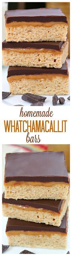 chewy peanut butter bars topped with a layer of caramel and chocolate. A delicious homemade version of the Whatchamacallit candy bar