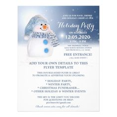 Snowman Flyer Template Winter And Holiday Party #snowman #flyer #templates #snowman #holiday Free Flyer Templates, Event Flyer Templates, Business Holiday Cards, Unique Business Cards, Christmas Flyer, Christmas Fun, Snowman Party, Custom Flyers, Party Flyer