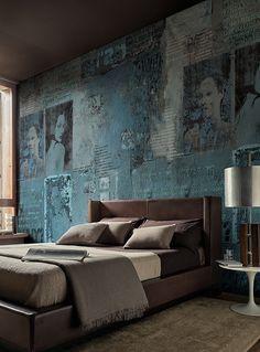 Textured teal bedroom wall