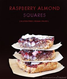 {Gluten-Free, Vegan, can easily be made Paleo & Refined Sugar-Free} So I made these gluten-free vegan raspberry almond squares for my husband si