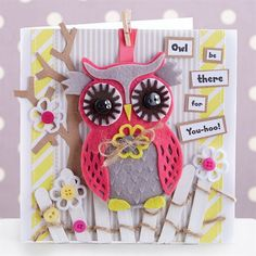 This handmade owl card is sure to go down a hoot, as the cute felt friend can be detached from the card to be used as a bag charm or key ring. Follow Sharon's tutorial to make an owl card of your own!
