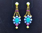 Handpainted Neon Rhinestone Earrings II. $45.00, via Etsy.
