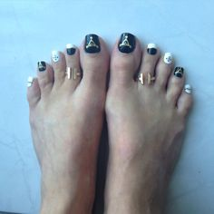 Black and white with gold accents