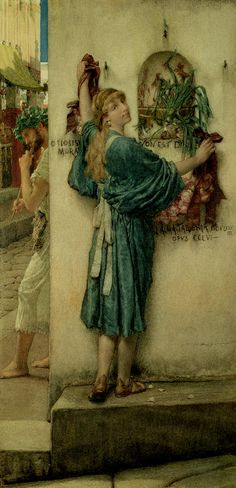 """A Street Altar"" Artist: Sir Lawrence Alma-Tadema Completion Date: 1883 Lawrence Alma Tadema, English Artists, Dutch Artists, Pre Raphaelite Paintings, Image Nature Fleurs, Images Vintage, Academic Art, Dutch Painters, Victorian Art"