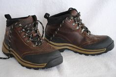 Timberland Brown Leather Back Road Hiking Boots Shoes Youth Boy's Size 1.5