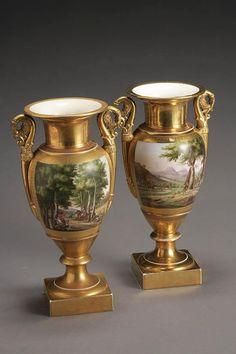 Pair of Paris Porcelain Pictorial Urns Second Quarter 19th C