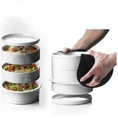 Steam Tower by Christian Bjorn was designed with Michelin chef Morten Koster. Made of porcelain, the stack can be placed in the oven to prepare several dishes at once. $88 #Steam_Tower #Cookware #Christian_Bjorn #Morten_Koster