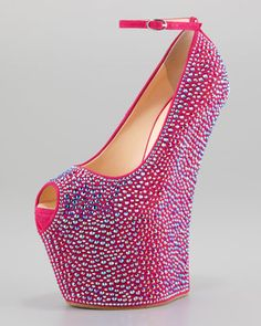 Crystal-Covered Exaggerated Wedge Platform Pump by Giuseppe Zanotti at Neiman Marcus.