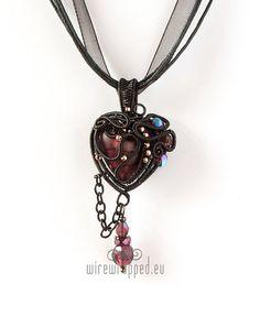 OOAK Purple goth wire wrapped heart pendant by ukapala on Etsy