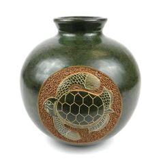6 inch Tall Vase - Turtle - Esperanza en Accion This decorative vase from Nicaragua is 6 inches tall and inches in diameter, featuring a lovely emerald turtle design. This is low fired and not designed to hold water. Pottery Vase, Ceramic Pottery, Ceramic Art, Turtle Table, Pots, Clay Vase, Tall Vases, Sgraffito, Handmade Pottery