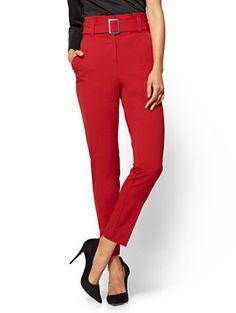 Paperbag- Waist Slim Leg Pant - Avenue - New York & Company Pantsuits For Women, Slim Waist, Slim Legs, Work Wear, Personal Style, Capri Pants, My Style, Sweaters, How To Wear