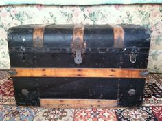 Antique Black Metal Trunk with Wood Straps Lift Out Tray Steamer Trunk, Currier And Ives, Love To Meet, Wood Slats, Old Antiques, Winter Scenes, Leather Handle, Black Metal, Industrial Style