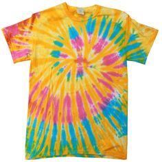 Tie Dye T-Shirts Large L Aurora Multi Color Spiral 100% Cotton, New #GildanHanes #BasicTee