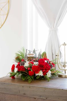 Thomas Kinkade's Family Tree Bouquet by Teleflora Christmas Centerpieces, Holiday Decorations, Teleflora Flowers, Thomas Kinkade Christmas, Christmas Flowers, Local Florist, Christmas Villages, Flower Ideas, Durham