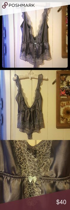 Victoria's secret lingerie Grey piece with a light shade of blue lace, never worn, silky material Victoria's Secret Intimates & Sleepwear