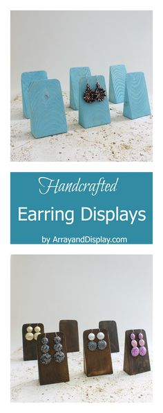 Handcrafted jewelry displays made of locally sourced new and reclaimed wood. Handcrafted in the USA by ArrayandDisplay.com. Earring displays, earrings stands, booth displays, retail displays, boutique displays, craft market displays.