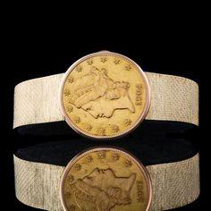 Baume & Mercier Solid Gold $20 Gold Coin Flip Top Man's Bracelet Watch,