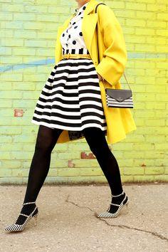 stripe skirt, polka dot top, yellow blazer: check, check check. Need/want those shoes, though   Keiko Lynn