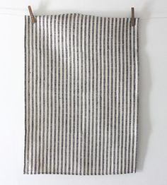 Fog Linen Tea Towel    Navy Stripe Chambray