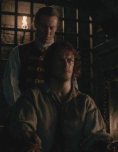 "Jamie Fraser (Sam Heughan) and Black Jack Randall (Tobias Menzies) in ""Wentworth Prison"" of Outlander of Starz via http://outlander-online.com/2015/05/21/1390-uhq-1080p-screencaps-of-episode-1x15-of-outlander-wentworth-prison/"