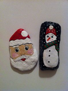 Santa & snowman painted rocks