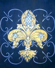 pics of painted fleur-de-lis on canvas | Silver Pineapple Fleur De Lis Painting - Silver Pineapple Fleur De Lis ...