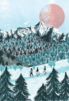pyranees mountains illustration, spiritual places, by Zanna Goldhawk