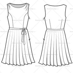 Women's sleeveless pleated skirt dress. Includes front and back flat sketch.