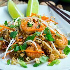 Spaghetti Squash Shrimp Pad Thai Recipe Main Dishes with spaghetti squash, oil, tamarind concentrate, fish sauce, palm sugar, chili sauce, peanut butter, oil, shrimp, shallots, garlic, beansprouts, carrots, eggs, green onions, roasted peanuts, cilantro