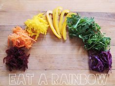EAT A RAINBOW - Food Colors give us different nutrients, vitamins, minerals and value - Eat a range of functional foods based on color for optimal health  #functionalfoods #fruit5