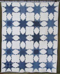 Farmhouse Prim Civil War Era Antique Indigo Blue White Feathered Star Quilt | eBay