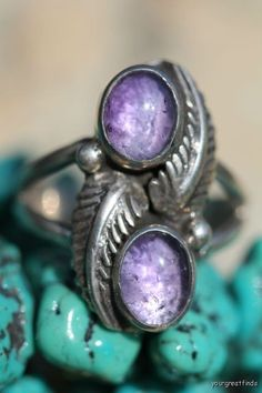 Vintage Signed Navajo Style Sterling Silver Double Amethyst Ring -New Old Store Stock. $49.99, via Etsy.