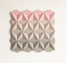Paper Wall Decoration, Wall Decoration, Origami Wall Art, Wall Decor, Shop Display - Moduuli Square Pink Beige