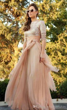 2015 Muslim Evening Dresses A-Line Half Sleeve Chiffon Appliques Scarf Arabic Abaya