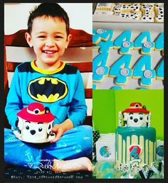 """My bubba's 4th birthday cake as per his request """"paw patrol marshall cake"""" and #4 cookies and dog bone cookies"""