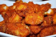 Boneless Buffalo Wings... I like that these are fried, rolled in the hot sauce and then baked for super crispiness. Wow. I love food.
