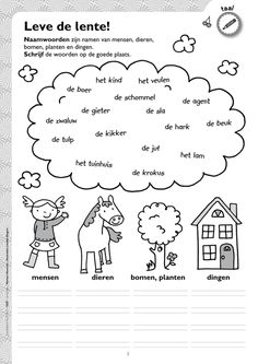 Werkblad naamwoorden - thema lente @keireeen Learning Through Play, Fun Learning, Learn Dutch, Albert Schweitzer, Aperol, Dutch Language, All Languages, Classroom, Letters