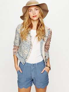 MIH Denim Scalloped Linen Short at Free People Clothing Boutique - StyleSays
