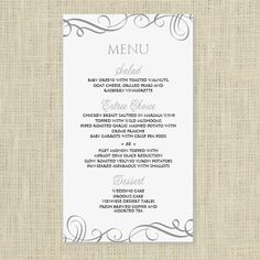 Marvelous Wedding Menu Card Template   DOWNLOAD INSTANTLY   Edit Yourself   Elegant  Swirls (Pewter)  Free Menu Templates Microsoft Word