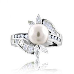Bling Jewelry Baguette Marquise CZ Antique Pearl Ring