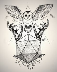 Owl dotwork Tattoo by MaryMaryLP