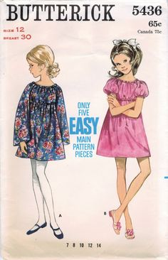 Butterick 5436 Vintage Sewing Pattern Girl's Easy-to-Sew Dress Size 12 Kids Clothes Patterns, Childrens Sewing Patterns, Girl Dress Patterns, Vintage Sewing Patterns, Clothing Patterns, Sewing Dresses For Women, Girls Dresses, Vintage Outfits, Vintage Clothing