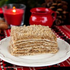 """The Christmas Eve is on December A traditional Romanian sweet served on the occasion is called """"nappy Jesus"""" (in Romanian called Turte or Scutecele lui Hristos) made of thin layers baked on a hotplate and filled with honey and nuts. Christmas Sweets, Christmas Eve, Christmas Recipes, Eastern European Recipes, Romanian Food, Romanian Recipes, Traditional Cakes, Vanilla Cake, Vegan Recipes"""