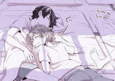 Haikyuu ~~ Oops. Looks like Hinata got pushed on top of Kageyama while they were sleeping at the training camp. Yay.