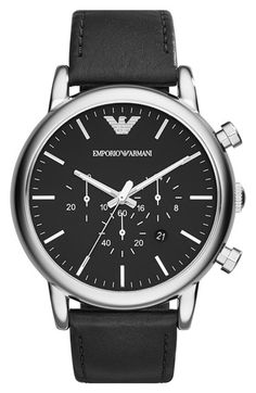Emporio Armani Chronograph Leather Strap Watch, 46mm available at #Nordstrom