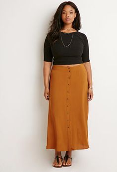 Buttoned High-Slit Maxi Skirt   Forever 21 PLUS - 2000155252