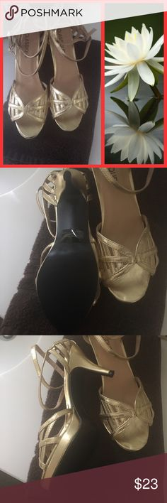 """Gold Strappy Sandals Classique brand BNWOB Gold Strappy (2) ankle design with slide in foot, very comfortable to walk & wear 3.5"""" heel Classique Shoes Sandals"""