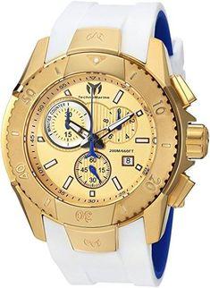 53ab30900c2 Technomarine TM-616004 Men s Watch UF6 Gold-Tone Blue Swiss Chronograph  White Rubber