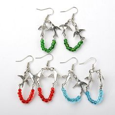 PandaHall Jewelry—Glass Seed Beaded Hoop Earrings with Tibetan Style Peace Dove Links | PandaHall Beads Jewelry Blog